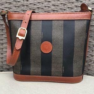 Vintage Fendi Pequin Canvas and Leather Bag